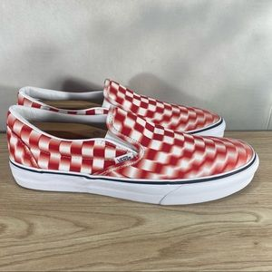 Vans Red Checkerboard Slip On Trippy Shoes Unisex